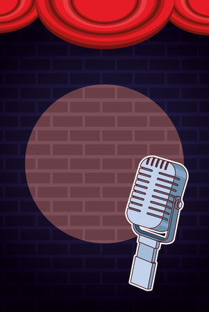 Show and theater vintage microphone on stage vector illustration graphic design  イラスト・ベクター素材