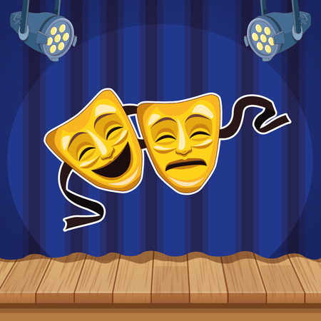 Entertainment show theater mask cartoon over stage scenery vector illustration graphic design Vettoriali
