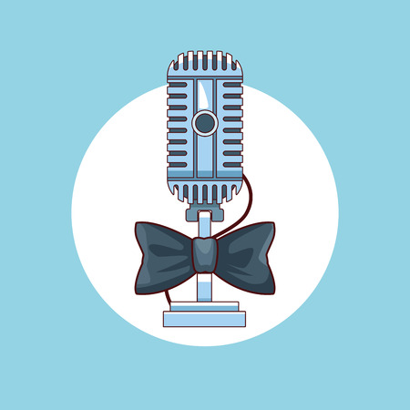 Entertainment show vintage microphone with bowtie over blue background vector illustration graphic design