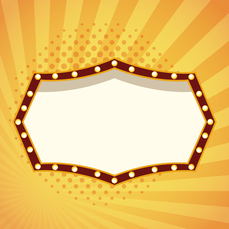 Entertainment show blank stage board with lights over striped yellow background vector illustration graphic design