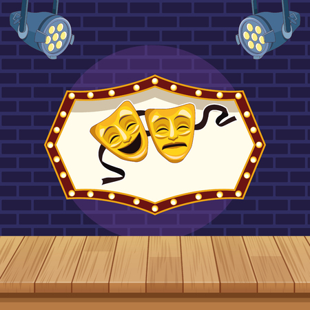 Entertainment show theater mask cartoon over stage scenery vector illustration graphic design  イラスト・ベクター素材