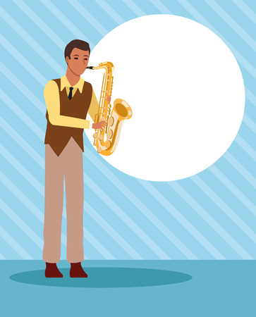 Musician artist playing saxophone cartoon over striped blue background vector illustration graphic design Иллюстрация