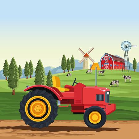 Farm tractor vehicle over landscape scenery vector illustration graphic design