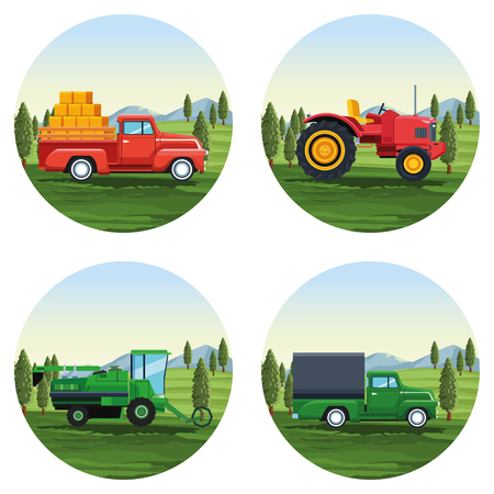 farm set of cartoons round icons vector illustration graphic design