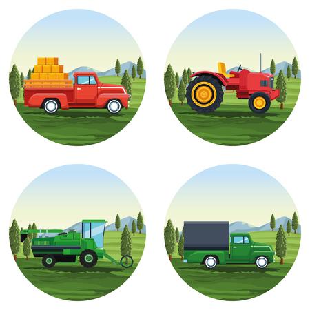 fattoria set di cartoni animati icone rotonde illustrazione vettoriale graphic design