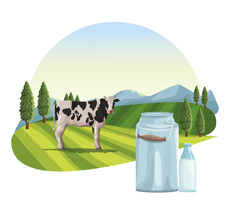 Farm milk jar and cow on landscape vector illustration graphic design Stock Illustratie