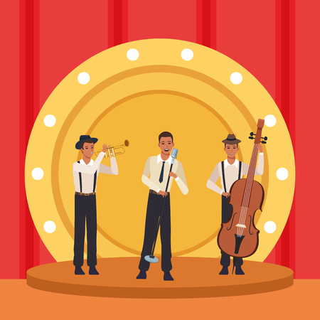 Music vintage band playing instrumet on show stage vector illustration graphic design