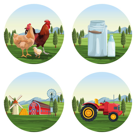 farm set of cartoons round icons vector illustration graphic design
