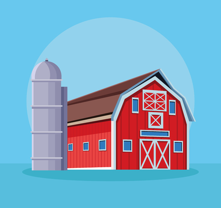 Farm with water cointainer cartoon over blue background vector illustration graphic design