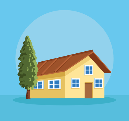 farm house with tree over blue background vector illustration graphic design Illustration