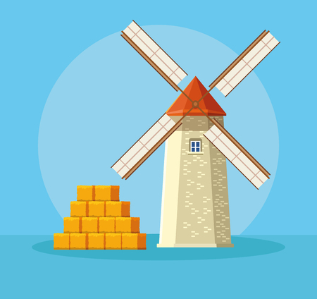 farm windmill with straws over blue background vector illustration graphic design
