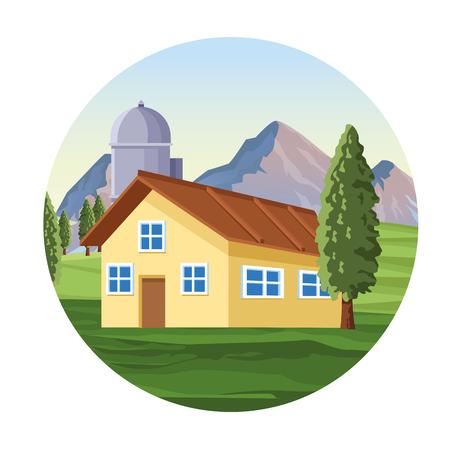 Farm with barn landscape scenery cartoon round icon vector illustration graphic design