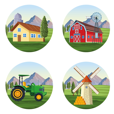 Farm scenery cartoons set vector illustration graphic design Illustration