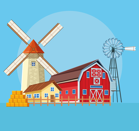 Farm with barn and windmills over blue background vector illustration graphic design