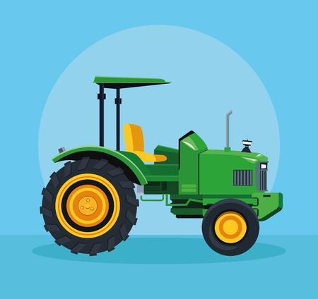 Farm tractor vehicle over blue background vector illustration graphic design
