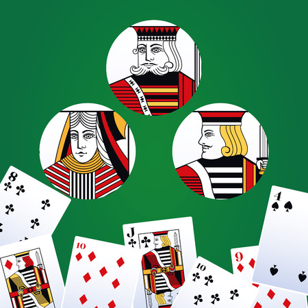 Poker-Freizeitkarten über grünem Hintergrund-Vektor-Illustration-Grafik-Design Vektorgrafik