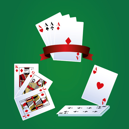 Poker leisure cards over green background vector illustration graphic design