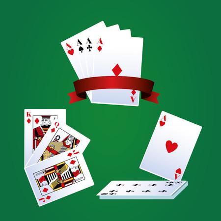 Poker leisure cards over green background vector illustration graphic design 免版税图像 - 126779994