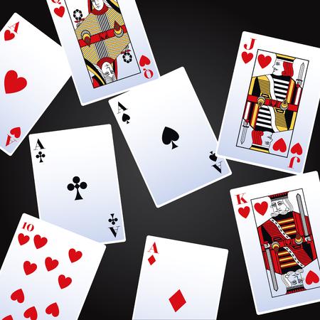 Juego de cartas de póquer sobre fondo negro ilustración vectorial diseño gráfico
