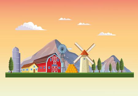Farm with barn landscape scenery cartoon vector illustration graphic design