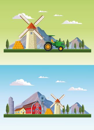Farm and barns sceneries set cartoon vector illustration graphic design