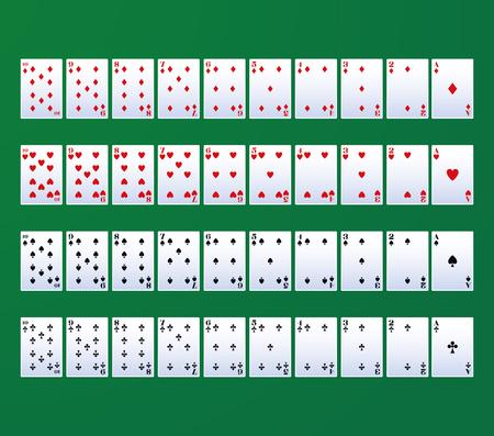 Poker leisure cards over green background vector illustration graphic design