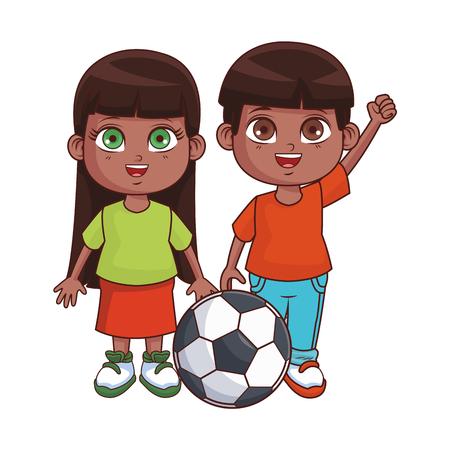 Niños lindos dibujos animados niño y niña sonriendo con diseño gráfico de ilustración de vector de balón de fútbol