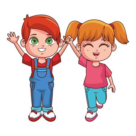 Cute kids cartoon boy and girl smiling vector illustration graphic design