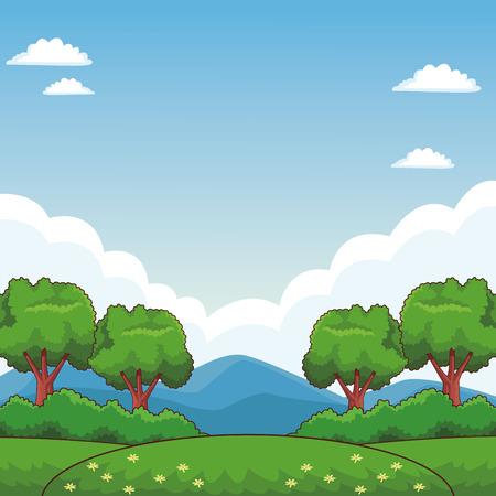 diseño gráfico del ejemplo del vector de la historieta del parque natural
