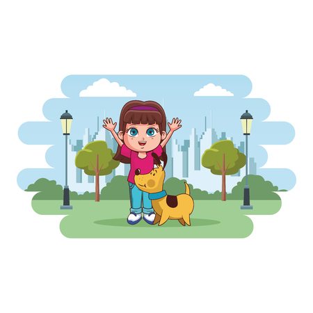 cute girl cartoon vector illustration graphic design Ilustrace