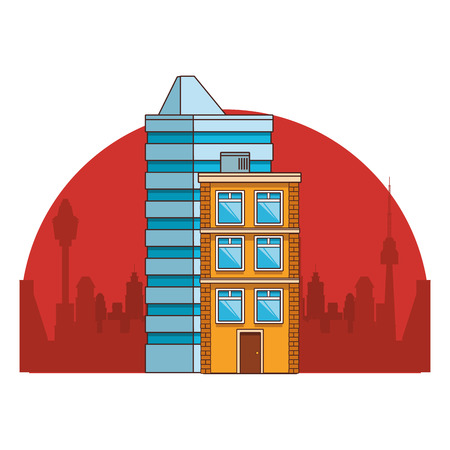 real state buildings cartoon vector illustration graphic design