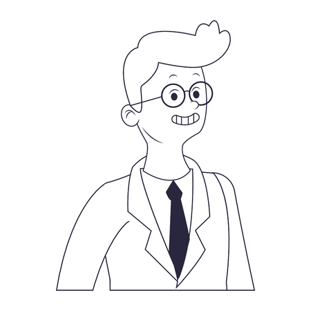young man cartoon vector illustration graphic design Ilustração