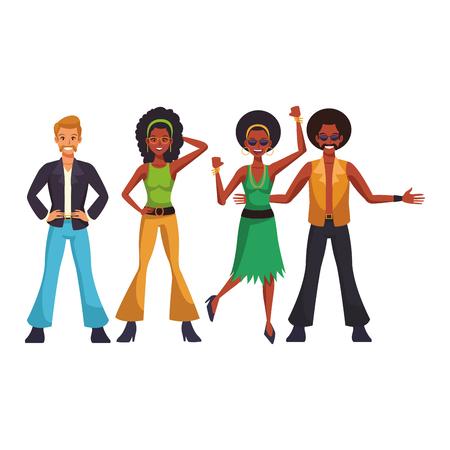 Disco people dancing cartoon vector illustration graphic design