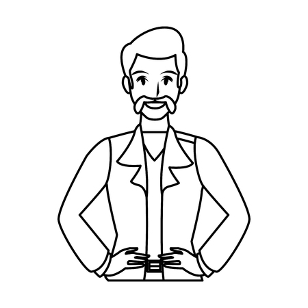 Disco man with mustache cartoon profile vector illustration graphic design