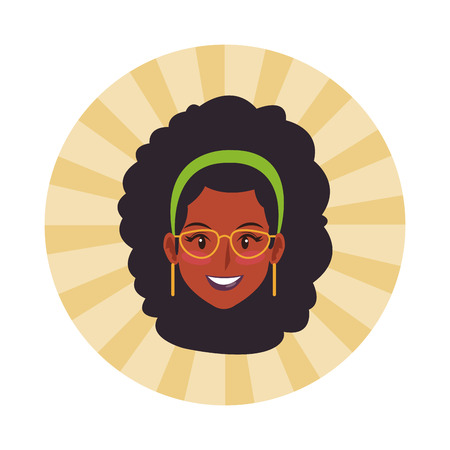 Disco woman face with fashion glasses vector illustration graphic design