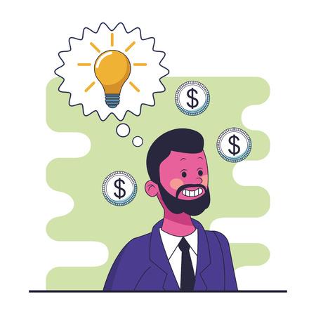 saving money young man cartoon vector illustration graphic design