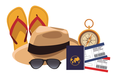 panama hat icon with flips flops passport sunglasses tickets compass in white background vector illustration graphic design Vectores