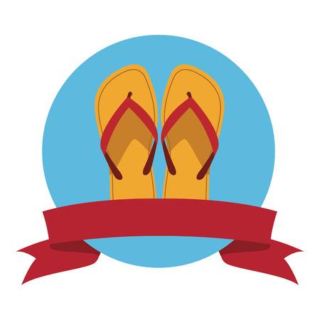 Flips flops icono icono redondo ilustración vectorial diseño gráfico