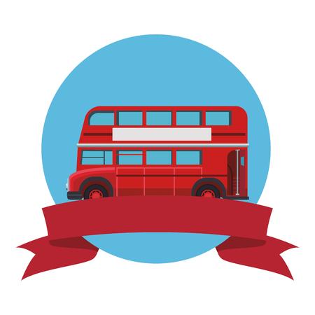 london double decker bus round icon vector illustration graphic design Vector Illustratie