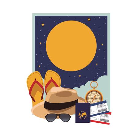 Icono de sombrero de Panamá con flips flops pasaporte gafas de sol boletos brújula en la noche ilustración vectorial diseño gráfico
