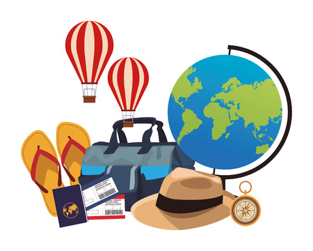 travel elements and item panama hat baggage passport flips flops compass hot air globe in white background vector illustration graphic design
