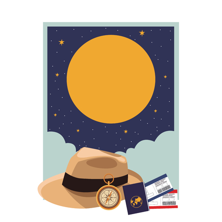 panama hat icon with flips flops passport sunglasses tickets at night vector illustration graphic design