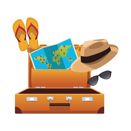elementos de viaje y artículo con equipaje sombrero de panamá flips flops mapa del mundo gafas de sol ilustración vectorial diseño gráfico Ilustración de vector