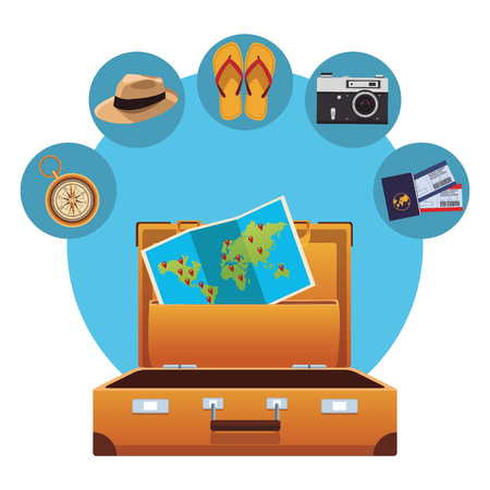 travel elements and item with baggage panama hat flips flops camera compass tickets vector illustration graphic design