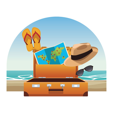 travel elements and item with baggage panama hat flips flops world map sunglasses beach landscape vector illustration graphic design
