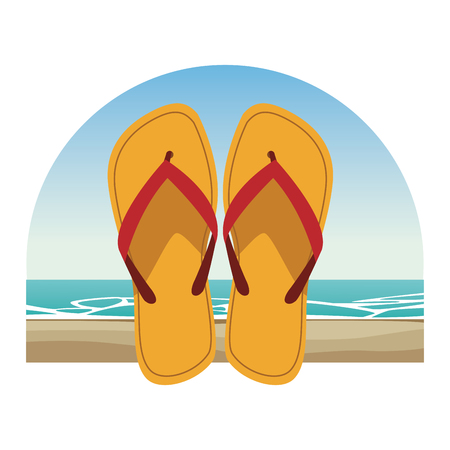 flips flops icon with beach landscape vector illustration graphic design Vectores