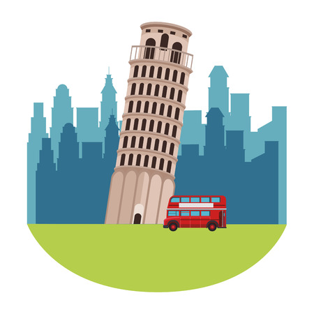 pisa tower icon with double decker bus in cityscape vector illustration graphic design