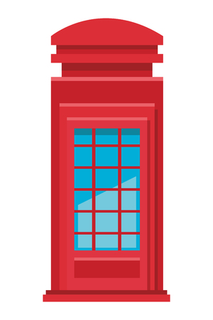 red telephone box in white background