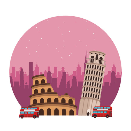 roman circus icon and pisa tower with double decker bus round icon vector illustration graphic design