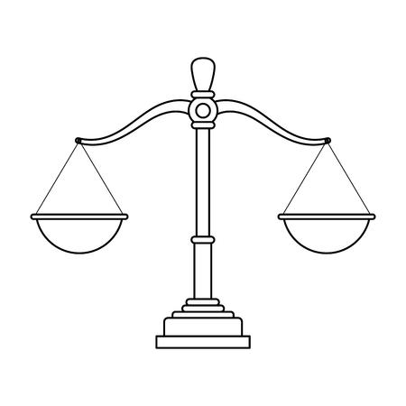justice balance cartoon vector illustration graphic design